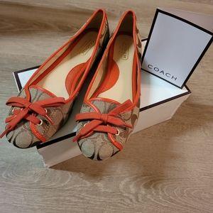 Coach   Size 8 Josie Khaki Vermilion Ballet Flats
